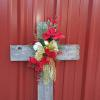 Silk start at $55 cross can bee reused!  Can be used as a house marker or decoration or cemetery tribute.